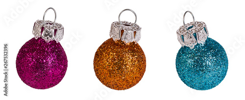 Poster Ecole de Danse Colored Christmas tree balls set. Isolated on white background. Decorative baubles group. Shiny glittering New Year ornaments. Pink, orange and blue sparkling Xmas bulbs. Fragile delicate decoration.