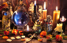 Crystal Ball With Runes, Black Candle And Witch Magic Bottle.