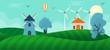 Nature landscape in flat , farming landscape illustration