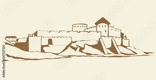 Stampa su Tela Ancient city on rock. Vector drawing
