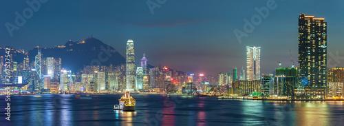 Fotografering  Panorama of Hong Kong city at dusk