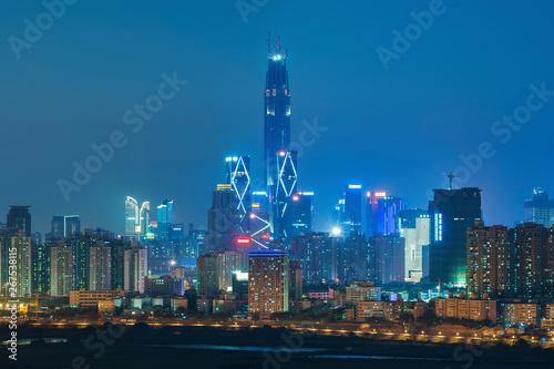 Fotografering  Skyline of Shenzhen City, China at night