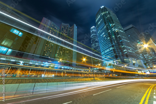 Fotografering  traffic in downtown district of Hong Kong city at night