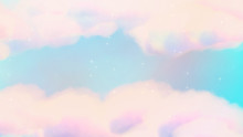 Pastel Painted Sky With Glowing Stars. 3d Rendering Picture.