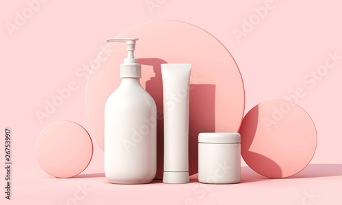 Obraz Blank white cosmetic skincare makeup containers. 3D Render - fototapety do salonu