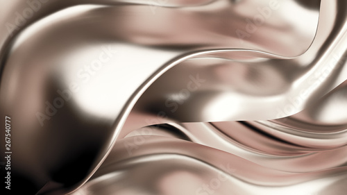 Spoed Foto op Canvas Fractal waves Luxurious silver background with satin drapery. 3d illustration, 3d rendering.