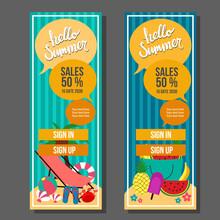 Hello Summer Vertical Banner Vintage Travel And Swim