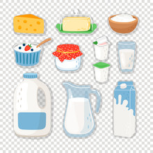 Cartoon Dairy Products. Milk Product Set Isolated On Transparent Background, Healthy Milk And Cheese Eating Snacks, Dairy Food Ingredients For Cooking, Vector Illustration