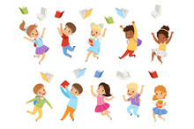 Flat Vector Set Of Cute Kids Throwing Books Up In The Air. Children With Happy Faces. Pupils Of Elementary School