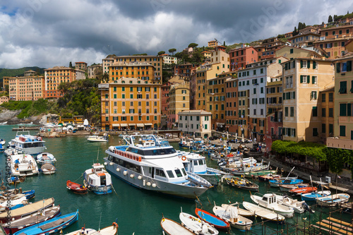 View of the Camogli's city on the Ligurian Riviera in Italy whit its porto Poster Mural XXL