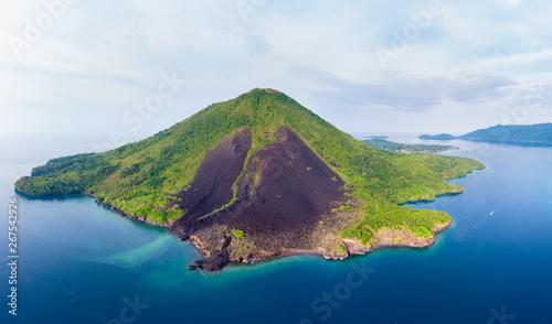 Aerial view Banda Islands Moluccas archipelago Indonesia, Pulau Gunung Api, lava flows, coral reef white sand beach. Top travel tourist destination, best diving snorkeling.