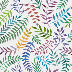 Fototapeta2d hand drawn watercolor seamless pattern. Colorful branches, leaves on vintage paper background. Botanical elements. Ornament for textile, wrapping, branding, wedding invitations.