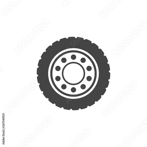 Fotografie, Tablou Truck wheel flat vector icon