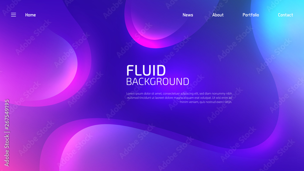 Fototapety, obrazy: Trendy fluid gradient background for landing page background, colorful abstract liquid 3d shaped. Futuristic design backdrop for banner, poster, cover, flyer, presentation, advertising