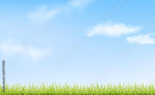 Montage in der Fensternische Himmelblau Sky, clouds and grass. Green landscape