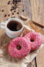 Pink Donuts And Coffee