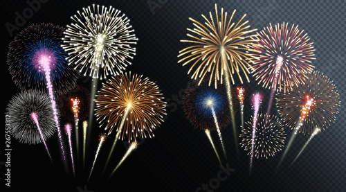 Fotografía  Two groups of isolated fireworks. Vector illustration.