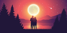 Couple In Love By The Lake Romantic Full Moon And Starry Sky Vector Illustration EPS10