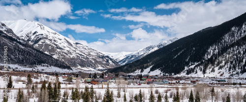 Fotografie, Obraz  the town of Silverton Colorado in a blanket of snow at the end of winter