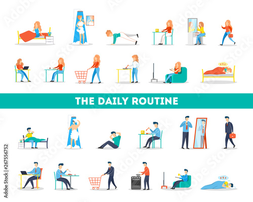 Photo  Daily routine of a woman and man set