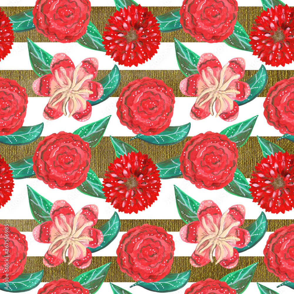 Seamless pattern of gouache red ornamental tropical and mexican flowers and green leaves