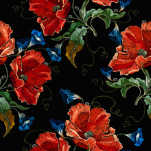 Beautiful Red Poppies And Blue Flowers, Embroidery Seamless Pattern. Fashion Art Nouveau Template For Clothes, T-shirt Design. Renaissance Spring Style