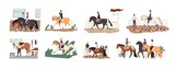 Collection of people riding horses. Bundle of cute men, women and children practicing horseback riding or equestrianism, caring about their domestic animals. Flat cartoon colorful vector illustration.