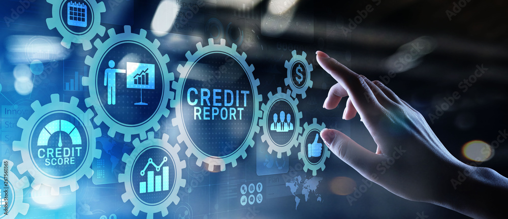 Fototapeta Credit report score button on virtual screen. Business Finance concept.