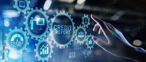 Fotografía Credit report score button on virtual screen