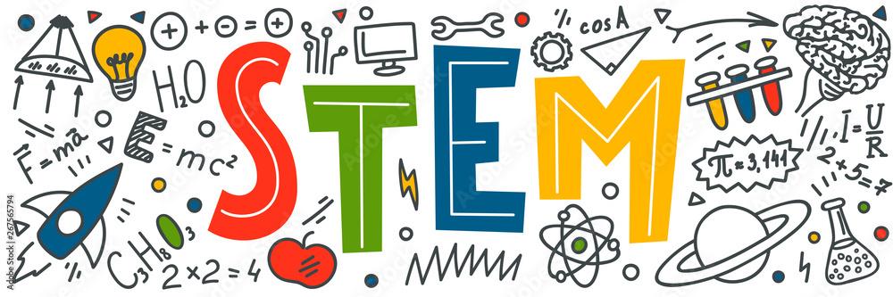 Fototapeta STEM. Science, technology, engineering, mathematics doodles.
