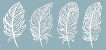Feather. Laser Cut. Template For Laser Cutting And Plotter. Vector Illustration. Sticker. Pattern For The Laser Cut, Serigraphy, Plotter.