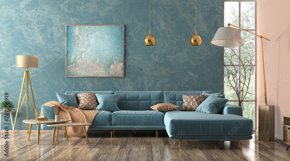 Fototapety, obrazy: Interior of living room with blue sofa 3d rendering