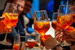 canvas print picture - Cheers friends with aperol spritz