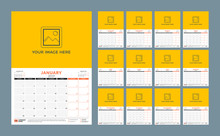 Wall Calendar Planner Template For 2019 Year. Week Starts On Monday. Vector Illustration