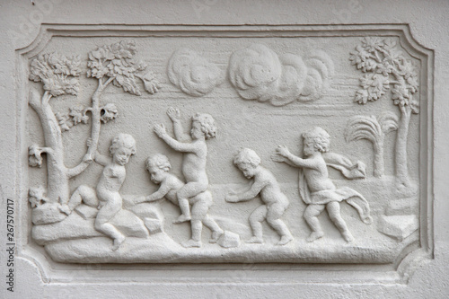 bas-relief on a base at the garden of the lower belvedere in Vienna (Austria) Canvas Print