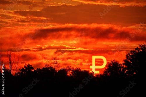 Foto auf AluDibond Rot Burning sunset sky horizon