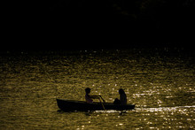 Couple Rowing A Boat On The Lake.  湖畔でボートをこぐカップル