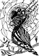 Black White Illustration With Abstract Pattern, Psychedelic Bird And Meditating People.