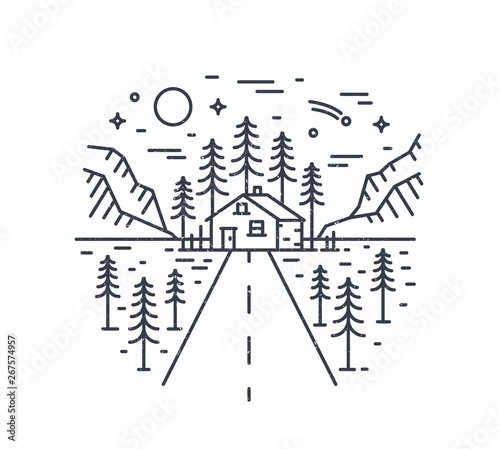 Poster Blanc Round composition with highway leading to lodge, house or hut in woodland surrounded by spruce trees and mountains drawn with contour lines. Monochrome vector illustration in modern linear style.