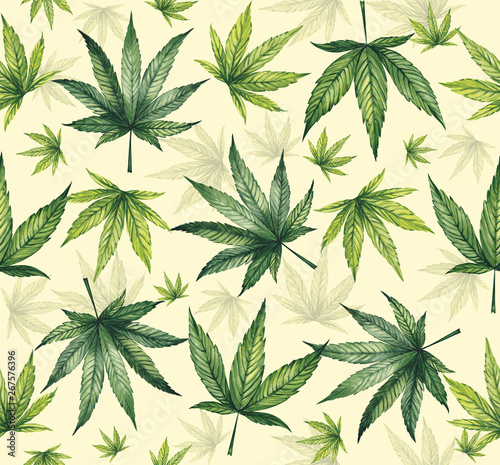 Fototapeta Watercolor pattern of cannabis leaves on a yellow background