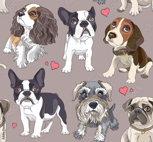fototapeta na drzwi i meble Seamless pattern with a different Cartoon puppies. Vector illustration.