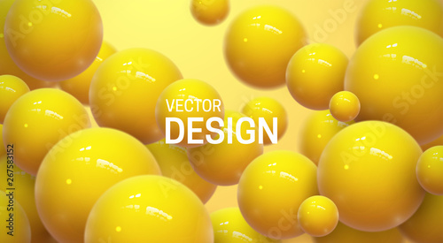 Fotografie, Tablou Abstract background with dynamic 3d spheres