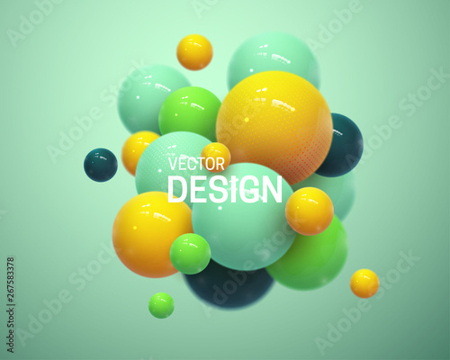 Fototapeta Abstract composition with 3d spheres cluster. Colorful glossy bubbles. Vector realistic illustration of balls. Trendy banner or poster design. Futuristic background obraz