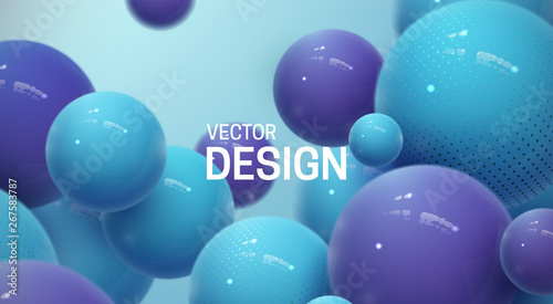Fotografia  Abstract background with dynamic 3d spheres