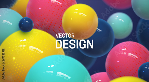 Fotografía  Abstract background with dynamic 3d spheres