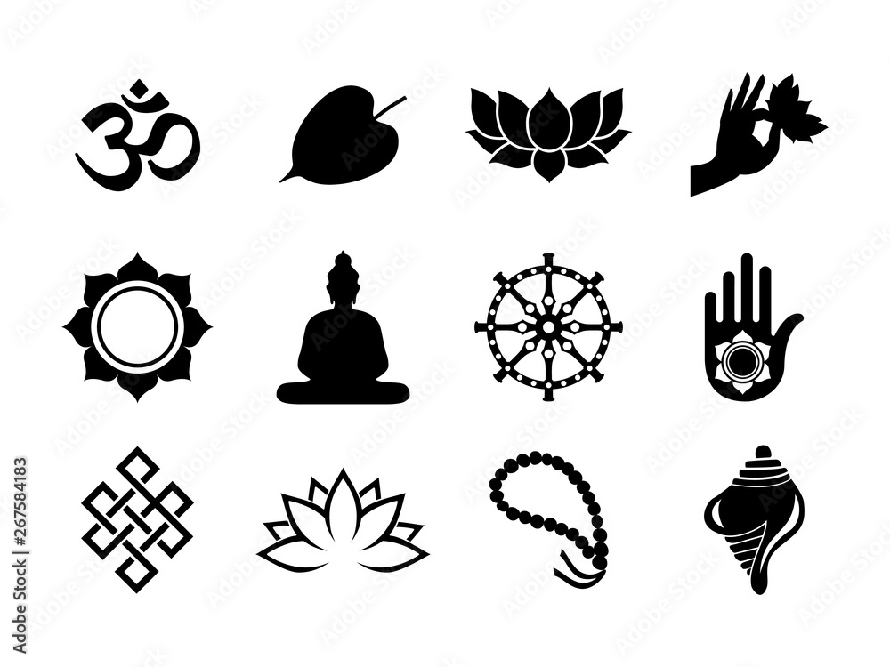 Fototapety, obrazy: Black Vesak Day icon set on isolated background