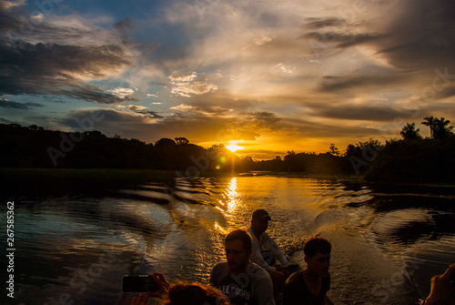 Beautiful sunset over the Amazon River. Manaus, Amazonas, Brazil Billede på lærred
