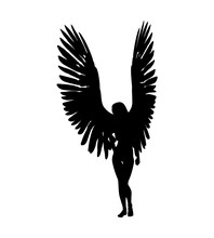 Female Angels Silhouette On Wh...