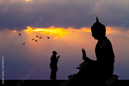 illustration of Buddhist monks at the temple at sunset Fotobehang