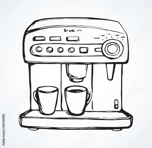 Photo Coffee maker. Vector drawing